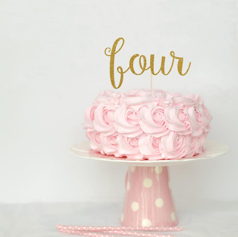 Four Cake Topper Decoration Glitter Birthday Party