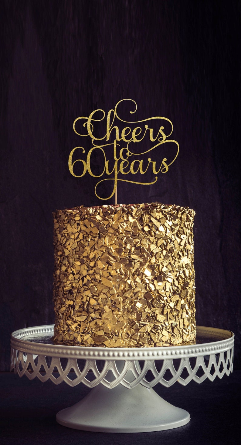 Cheers to 60 Years 60th birthday Cake Topper Happy 60th Cake image 0