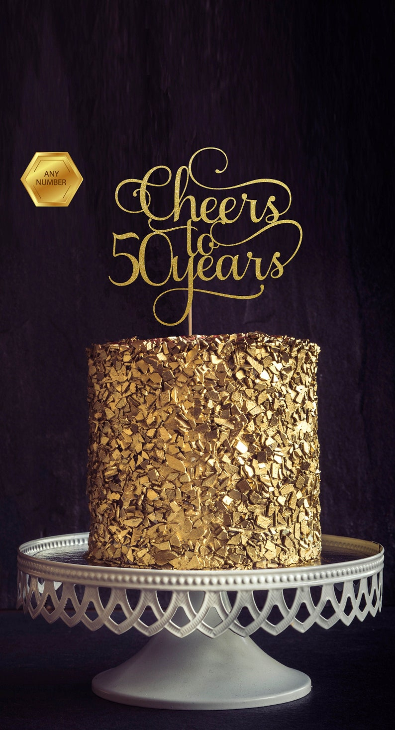 Cheers to 50 Years 50th birthday Cake Topper Happy 50th Cake image 0
