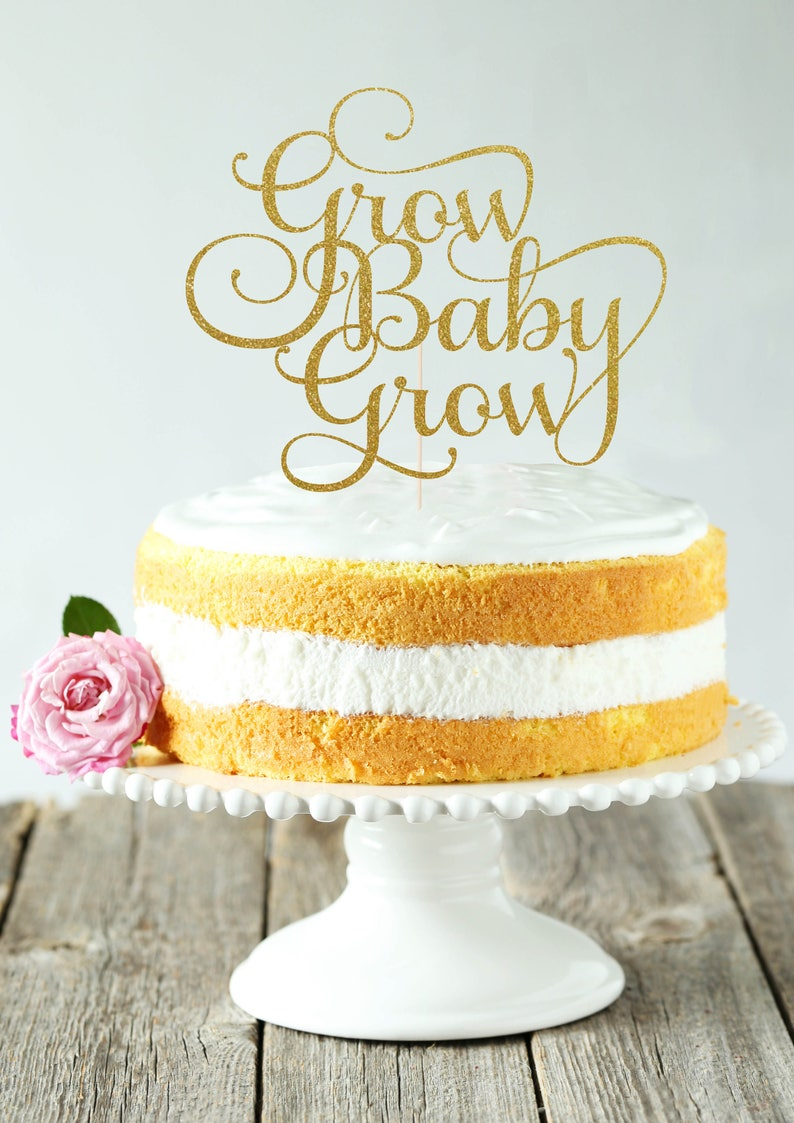 Grow Baby Grow Cake Topper Cake Decoration Glitter Gold image 0