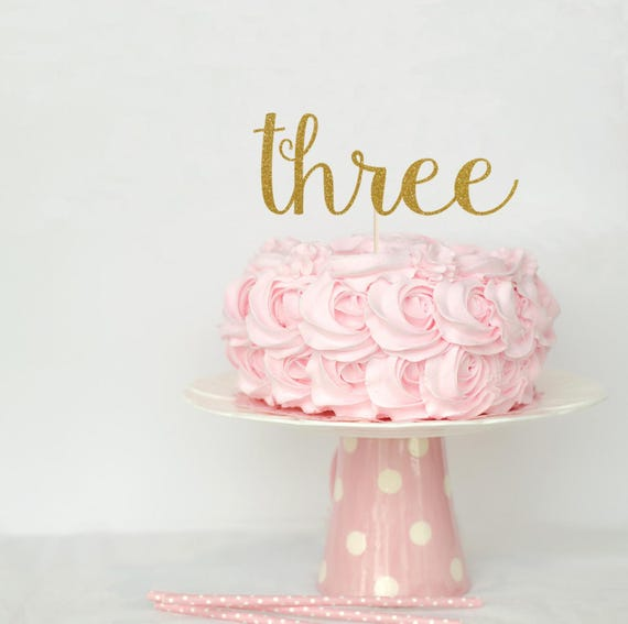 Three Cake Topper Decoration Glitter Party