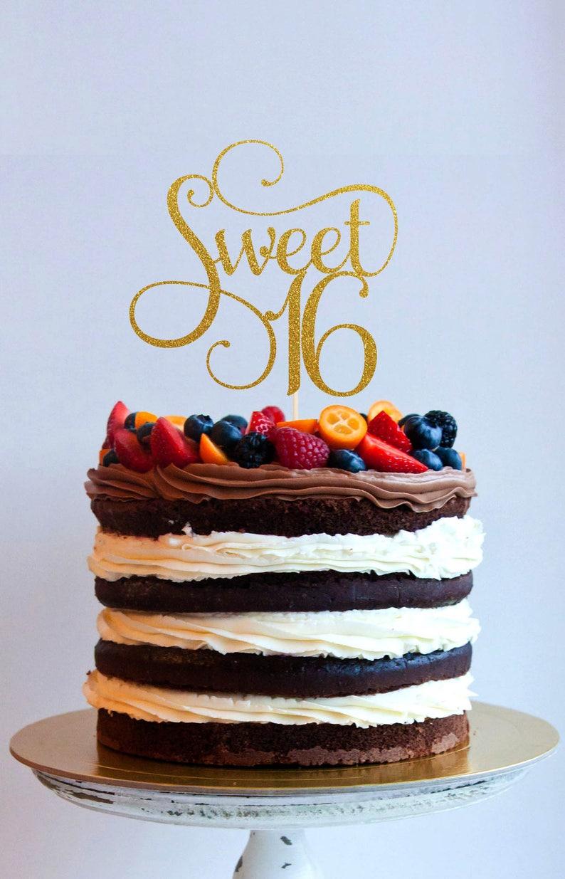 Sweet 16 Cake Topper Glitter Topper Cake Decoration image 0
