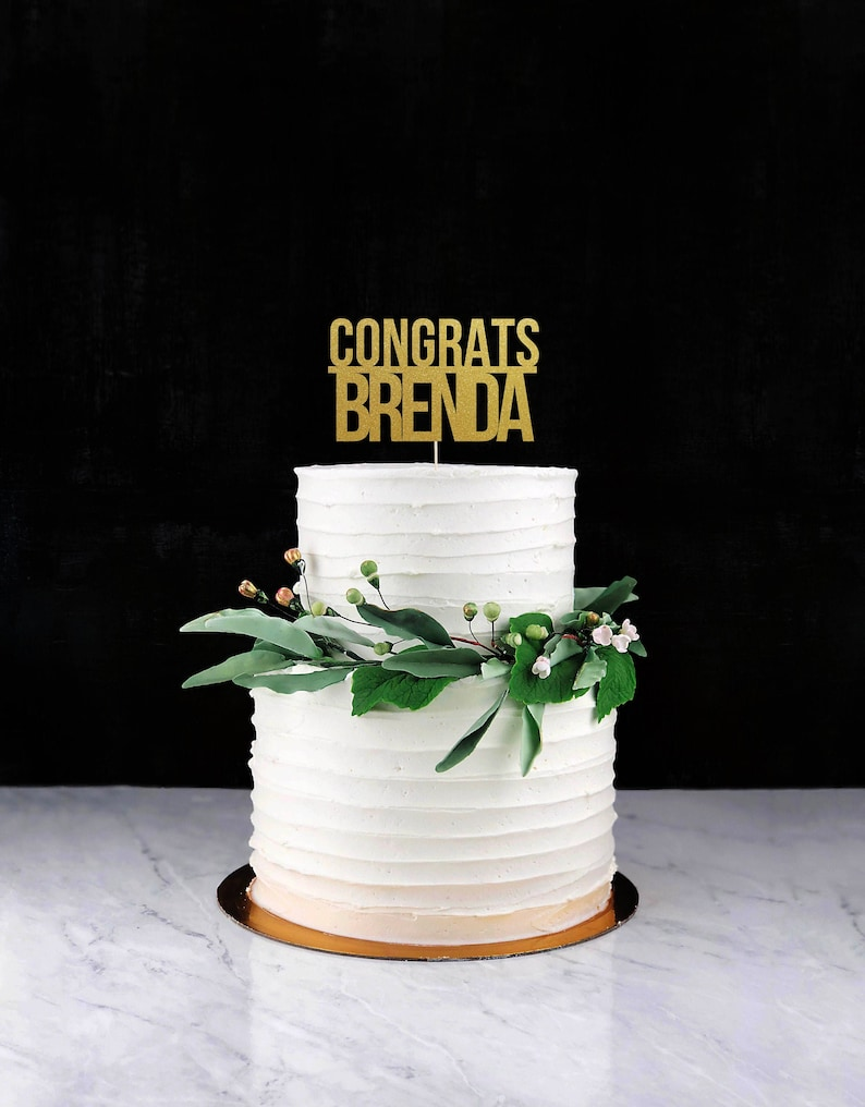 Congrats ANY NAME Cake Topper Cake Decoration Glitter image 0