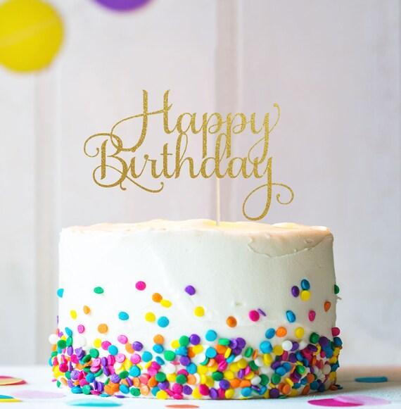 Happy Birthday Cake Topper Cake Decoration Glitter Birthday Etsy
