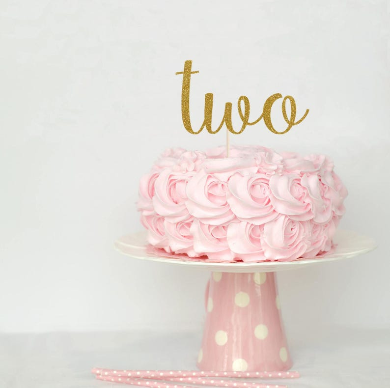 Two Cake Topper Cake Decoration Glitter Party Decor image 0