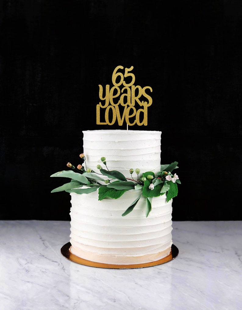 Sixty Five Years Loved Cake Topper Cake Decoration Glitter image 0