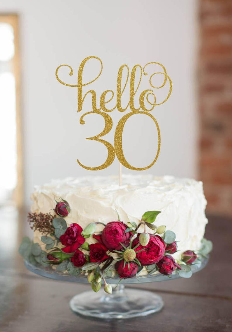 Hello 30 Thirty Cake Topper Cake Decoration Glitter Party image 0