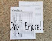 Yardzee, Yahtzee Dry Erase Scorecard, Scoresheet, Laminated Scorecard, Erasable and Reusable, Rules on the Back - 8-1 2x11 Cardstock