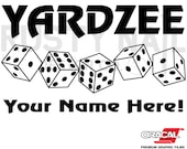 Personalized Yardzee Decal with dice, Bucket Decal - Choose Your Color and Size