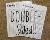 Yardzee Yahtzee Score Sheet Scorecard Double-Sided Dry Erase Scorecard Yardzee Farkle - Laminated 8-1 2x11 Cardstock