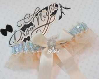 Victorian Garter Wedding Toss Cheer Gold Ivory Cream Bridal Classic Silver Heart Crystals