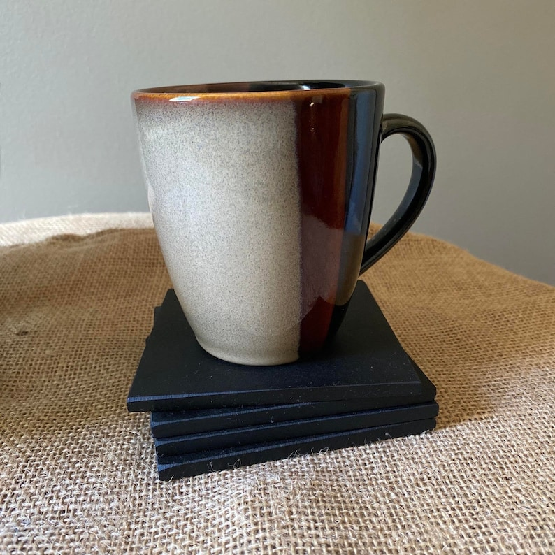 Four Black Modern Richlite Coasters 4 by 4 with 14 thickness Liteboard Coasters