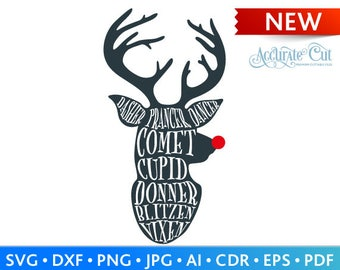 Reindeer Names Svg Reindeer Names Cut Files Christmas Silhouette Studio Cricut Svg Dxf Jpg Png Eps Pdf Ai Cdr