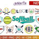 Softball Svg Softball Monogram Frames Svg Softball Frames Svg Cut Files Silhouette Studio Cricut Svg Dxf Jpg Png Eps Pdf Ai Cdr