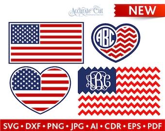 American Flag Svg 4th of July American Flag Monogram Frames Svg US Flag Cut Files Silhouette Studio Cricut Svg Dxf Jpg Png Eps Pdf Ai Cdr