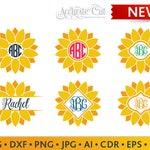 Sunflower Svg Sunflower Monogram Frames Svg Sunflower Cut Files Silhouette Studio Cricut ScanNCut Svg Dxf Jpg Png Eps Pdf Ai Cdr