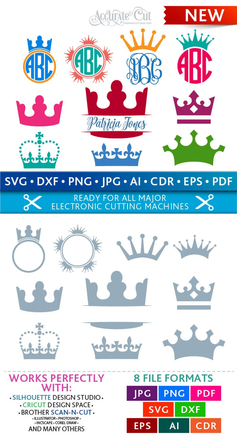Crown Svg Crown Monogram Frames Svg Crown Frames Svg Princess image 0
