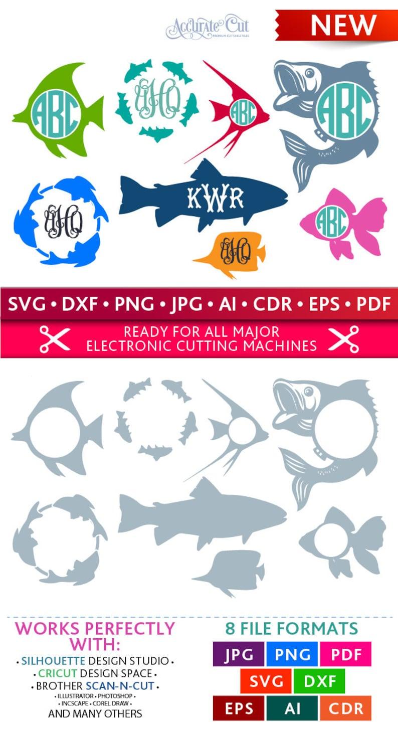 Fish Svg Fish Monogram Frames Svg Fish Frames Svg Fishes Svg image 0