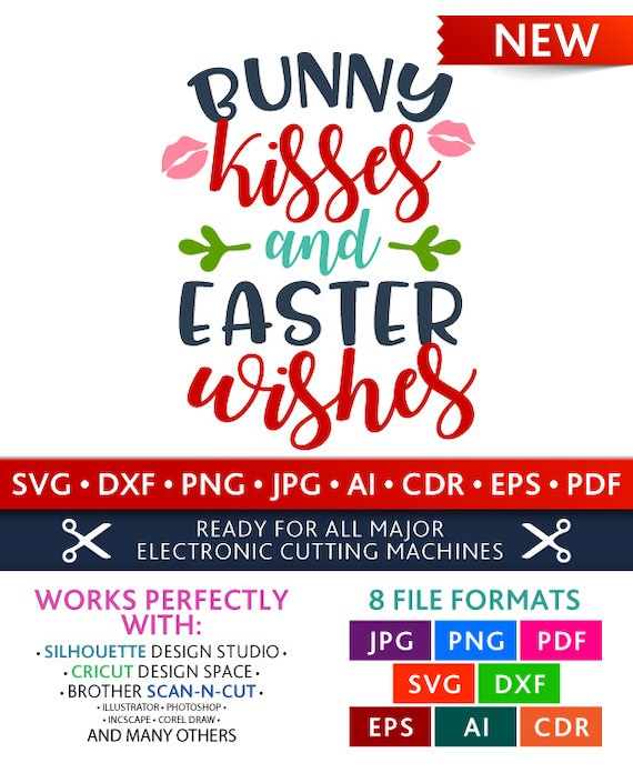 Bunny Kisses And Easter Wishes Svg Bunny Kisses And Easter Etsy