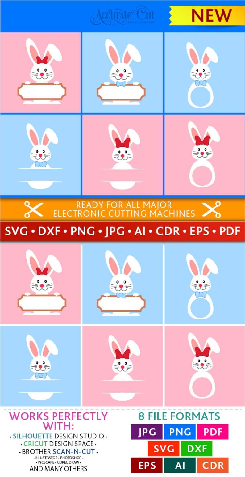 Easter Bunny Svg Easter Monogram Frames Svg Peeking Bunny Svg image 0