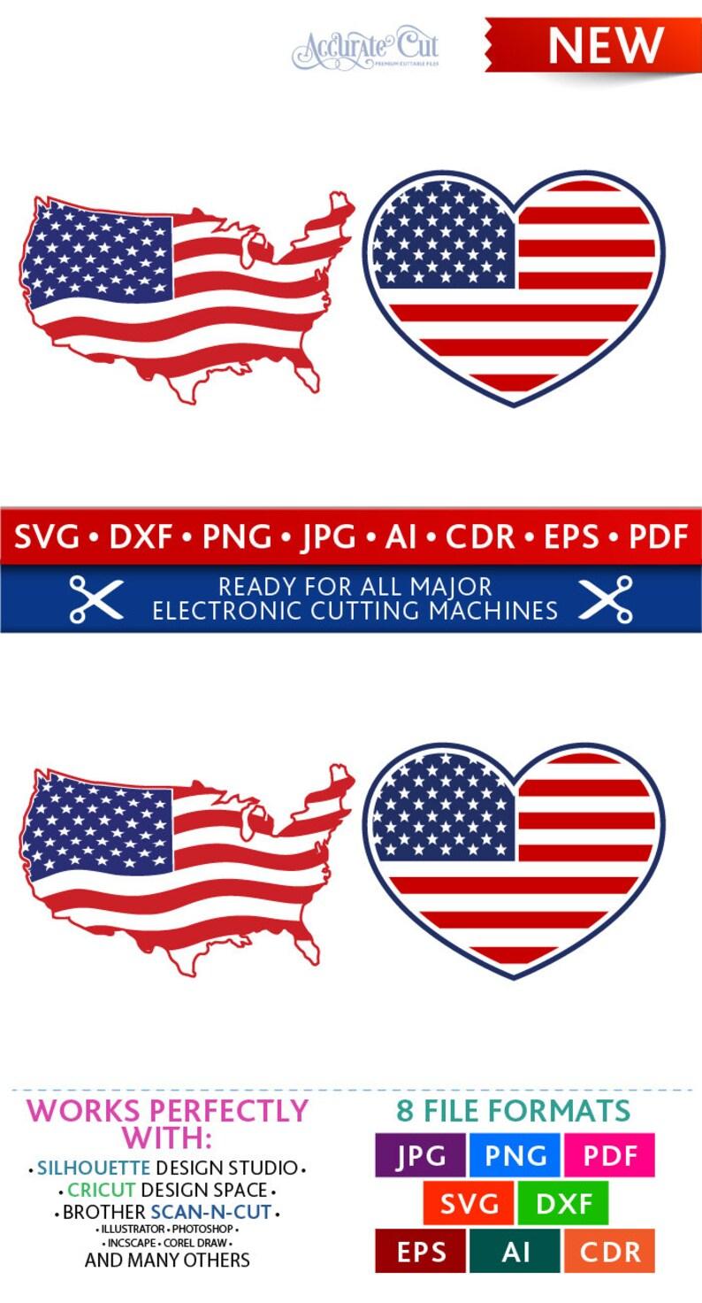 USA Svg USA Flag Svg USA Flag Cut Files 4th of July Silhouette image 0