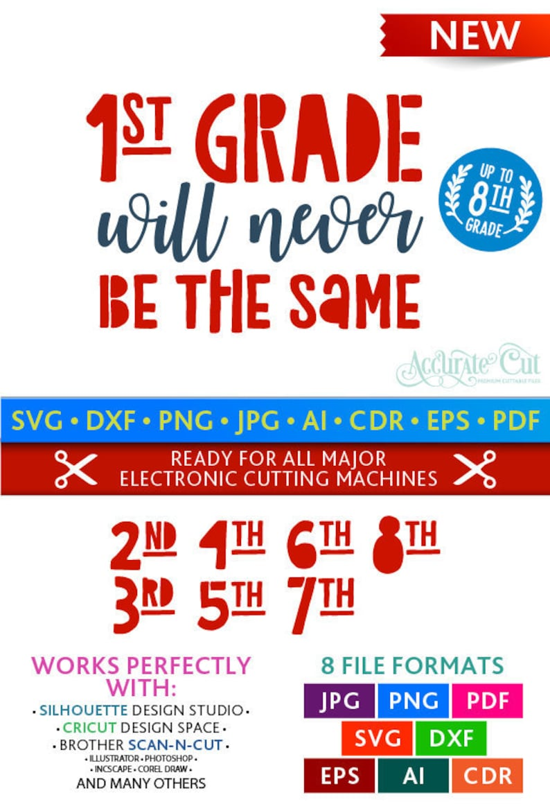 1st Grade Will Never Be the Same Svg Grade Will Never Be the Same Cut Files  School Silhouette Studio Cricut Svg Dxf Jpg Png Eps Pdf Ai Cdr