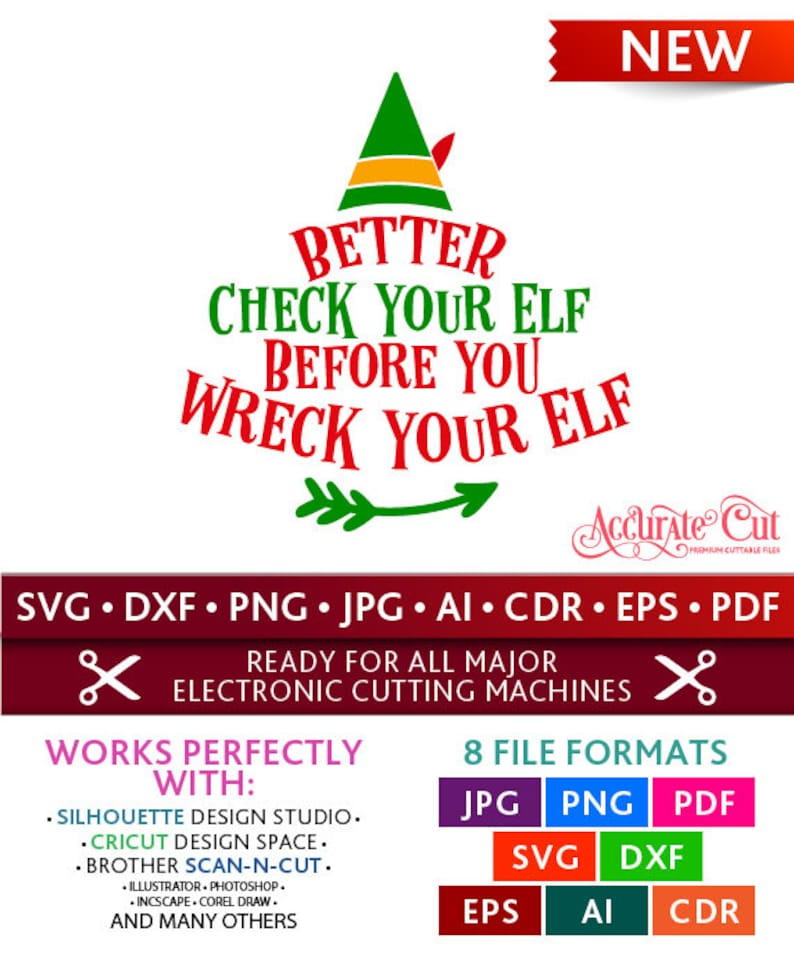 Better Check your Elf before you Wreck your Elf Svg Wreck your Elf Cut  Files Christmas Silhouette Cricut Svg Dxf Jpg Png Eps Pdf Ai Cdr