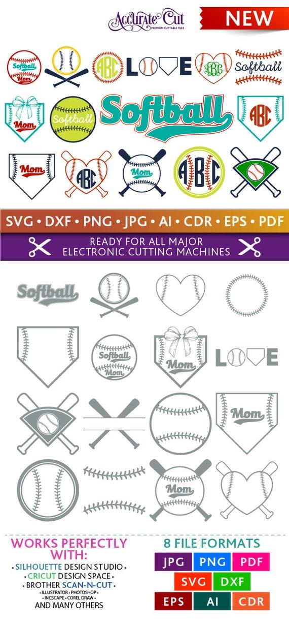 Softball Svg Softball Monogram Frames Svg Softball Frames Svg