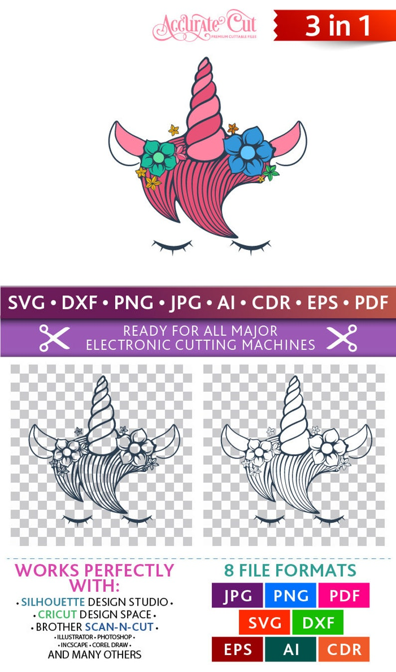 Unicorn Svg Unicorn Face Svg Unicorn Silhouette Svg Unicorn image 0