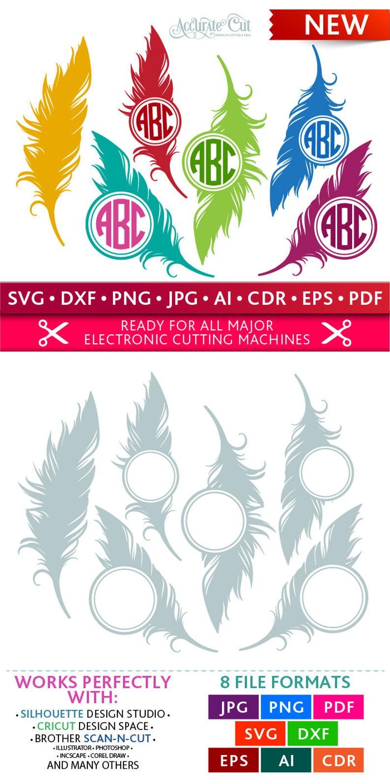 Feather Svg Feather Monogram Frames Svg Feather Frames Svg image 0