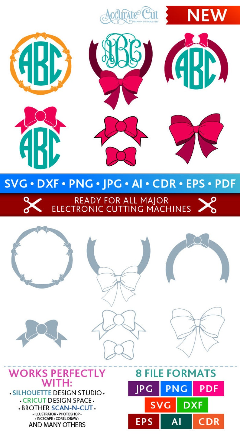 Bow Svg Bow Monogram Frames Svg Bow Frames Svg Bows Svg Cut image 0