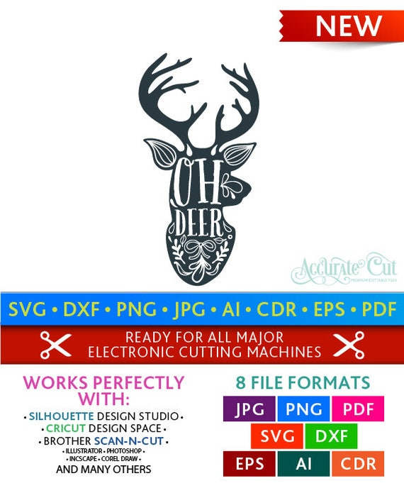 Oh Deer Svg Oh Deer Cut Files Christmas Silhouette Studio Etsy