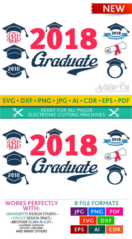 Graduation Svg Graduation Monogram Frames Svg Graduation image 0