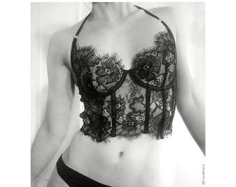 Lace and satin bra corset inspired bustier sheer handmade luxury lingerie