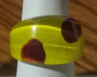 Retro Ring Yellow and Brown Size 7