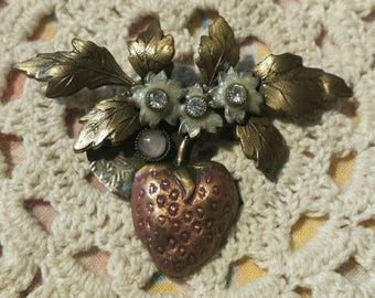 Vintage Strawberry Brooch with Rhinestone Enhancements