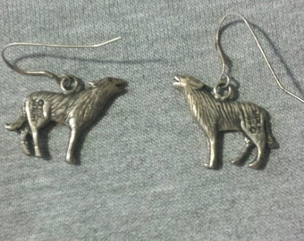 Retro Wolf Earrings Signed by Siebing