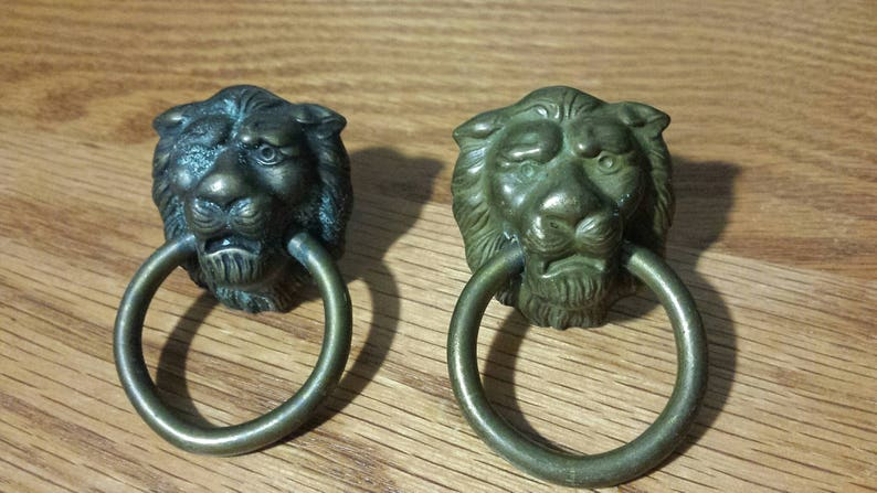 One Original Vintage brass lionhead pull