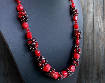 abe85c6ccfd2 Garnet gift necklace Necklace stone garnet-coral Red gift necklace Necklace  stone garnet gift Boho gift necklace Necklace stone Red gift
