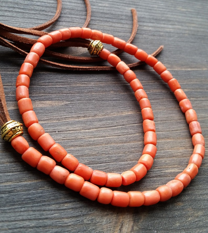Antique coral necklace\\19g antique coral\\Necklace mediterranean salmon coralantique necklace\\Natural undyed Coral\\Rare coral necklace\\coral
