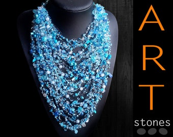 Chunky necklase blue\Chunky necklace Gift\Extra-Chunky necklase blue\Turquoise Chunky necklase\blue air necklace\bib statement necklace blue
