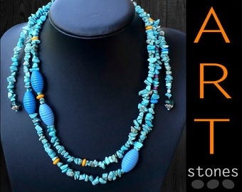Turquoise gift necklace\extra-long turquoise\gift necklace\blue Turquoise gift\necklace gift for her\long necklace\gift Turquoise jewelry