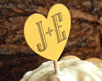 10-100 pc. Personalized Gold Heart Cupcake Toppers, Girly Bridal Shower, Custom Initials Cupcake Toppers, Wedding Picks, Party Picks