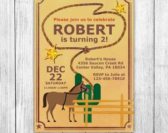 cowboy party invite etsy