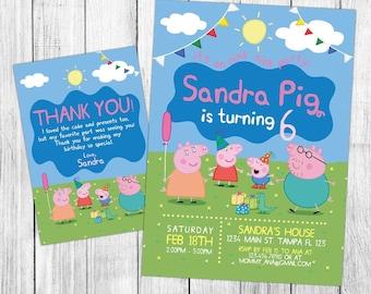 Peppa Pig Invitation, Peppa Pig Birthday Invitation, Peppa Pig Birthday Party, Peppa Pig Thank You Card, Personalized, Digital File