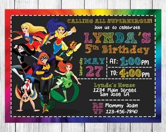 Dc Superhero Girls Invitation, Dc Superhero Girls Birthday Invitation, Dc Superhero Girls Birthday Party, Dc Superhero Girls Thank You Card