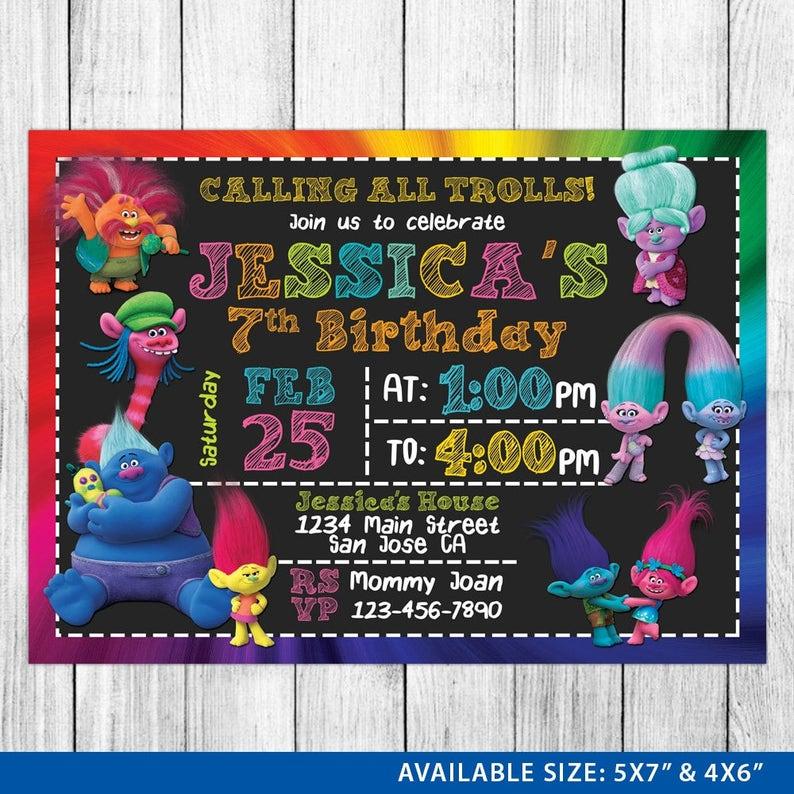 image regarding Free Printable Trolls Invitations known as Trolls Invitation - Trolls Invite - Trolls Birthday - Trolls Birthday Invitation - Trolls Celebration - Trolls Printable - Trolls Card