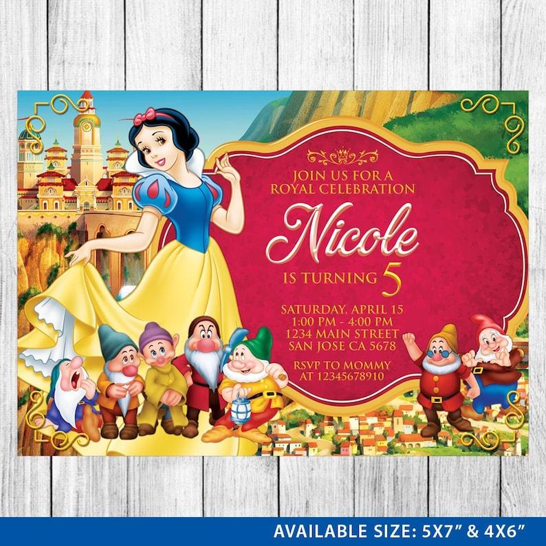 Snow White Invitation Snow White Invite Snow White Etsy