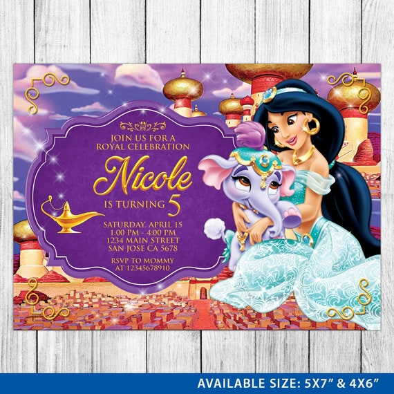 princess jasmine invitation princess jasmine birthday