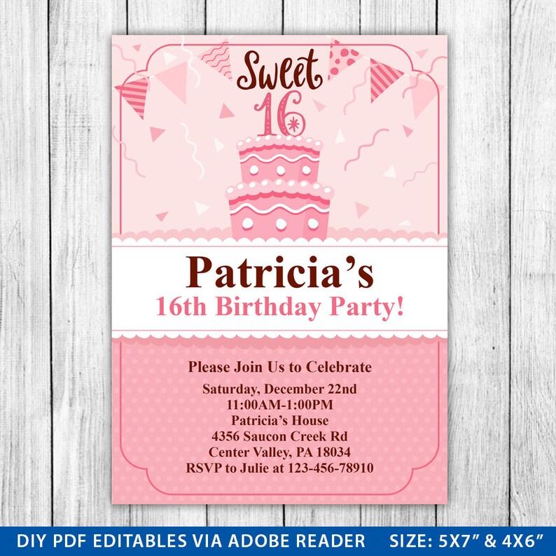 Sweet Sixteen Birthday Invitation 16 Invite